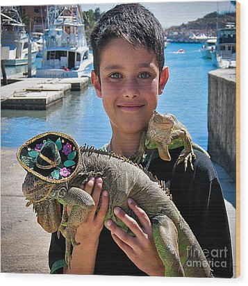 A Boy And His Iguanas Wood Print by Amy Fearn