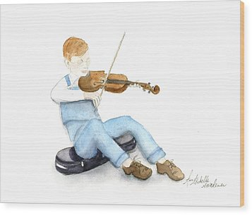 A Boy And His Violin Wood Print