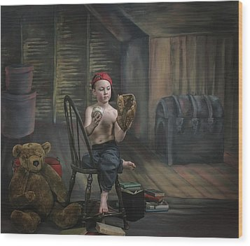 A Boy In The Attic With Old Relics Wood Print by Pete Stec