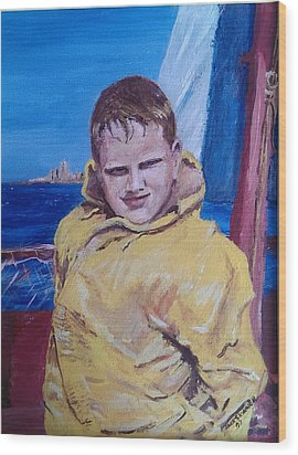 A Boy On A Boat Wood Print by Jack Skinner