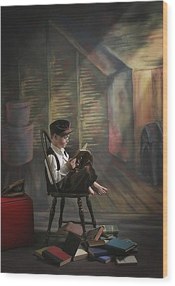 A Boy Posed Reading Old Books Victoria Wood Print by Pete Stec