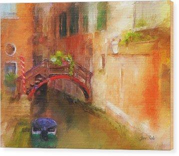 A Bridge In Venice Wood Print by Jane Fiala