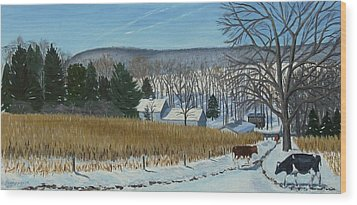 A Bright Blue Winter Day At Bear Meadows Farm Wood Print