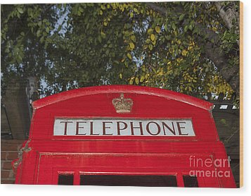 A British Phone Box Wood Print