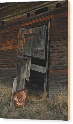A Bucket And A Door Wood Print by Jeff Swan
