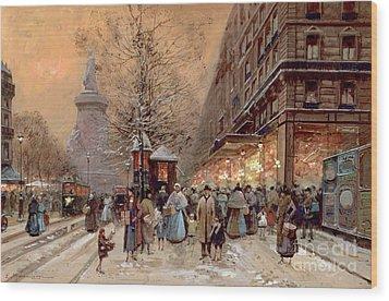 A Busy Boulevard Near The Place De La Republique Paris Wood Print by Eugene Galien-Laloue