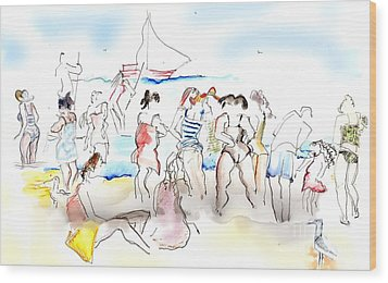 A Busy Day At The Beach Wood Print by Carolyn Weltman