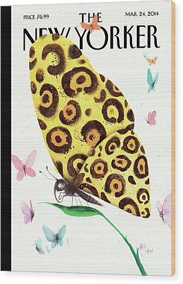 A Butterfly With A Cheetah Pattern Rests Wood Print