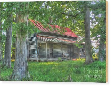 A Cabin In The Woods Wood Print by Dan Stone