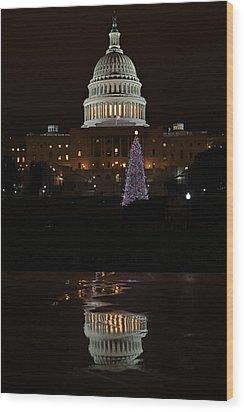 A Capitol Reflection Wood Print