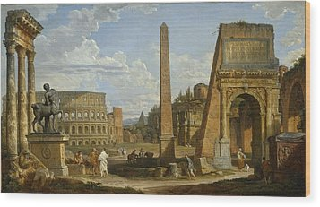 A Capriccio View Of Roman Ruins, 1737 Wood Print by Giovanni Paolo Pannini or Panini
