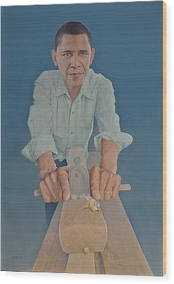A Carpenter Chinese Citizen Barack Obama  Wood Print by Tu Guohong