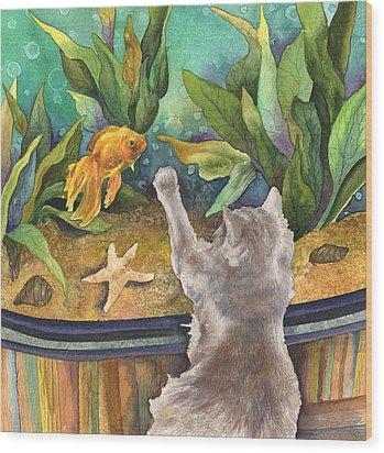 A Cat And A Fish Tank Wood Print