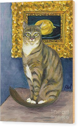Wood Print featuring the painting A Cat And Eduard Manet's The Lemon by Jingfen Hwu