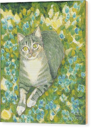 Wood Print featuring the painting A Cat And Flowers by Jingfen Hwu