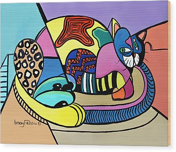 A Cat Named Picasso Wood Print by Anthony Falbo
