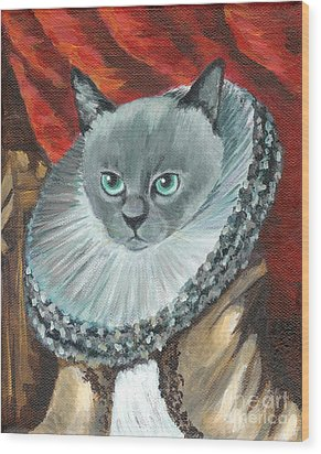 Wood Print featuring the painting A Cat Of Peter Paul Rubens Style by Jingfen Hwu
