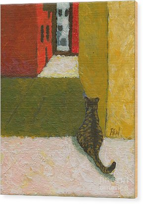 Wood Print featuring the painting A Cat Waiting For Someone's Return by Jingfen Hwu