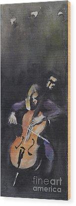A Cellist Wood Print by Yoshiko Mishina