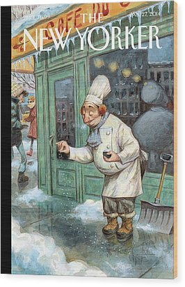 A Chef Lightly Pinches Salt On The Sidewalk Wood Print by Peter de Seve