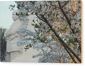 Wood Print featuring the photograph A Cherry Blossomed Martin Luther King by Cora Wandel