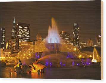 A Chicago Twilight Wood Print by Andrew Soundarajan