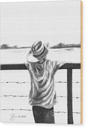 A Child On A Farm Wood Print by J Ferwerda