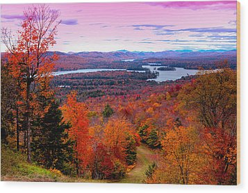 A Chilly Autumn Day On Mccauley Mountain Wood Print
