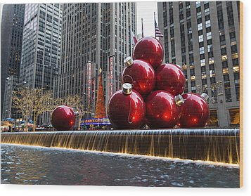 A Christmas Card From New York City - Radio City Music Hall And The Giant Red Balls Wood Print