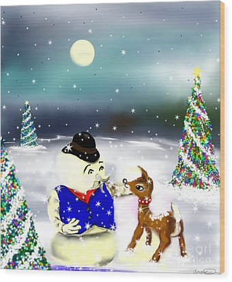 A Christmas Night Wood Print by Lori  Lovetere