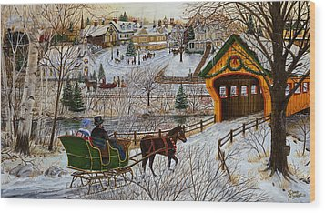 A Christmas Sleigh Ride Wood Print by Doug Kreuger