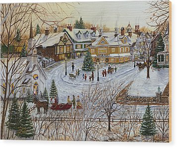 A Christmas Village Wood Print by Doug Kreuger