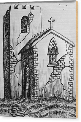 Wood Print featuring the painting Old Church by Salman Ravish