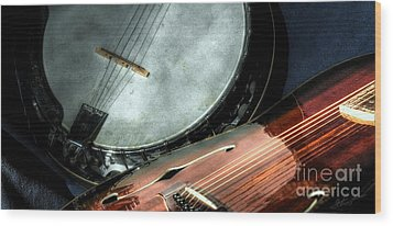 A Classic Pairing Digital Guitar And Banjo Art By Steven Langston Wood Print by Steven Lebron Langston