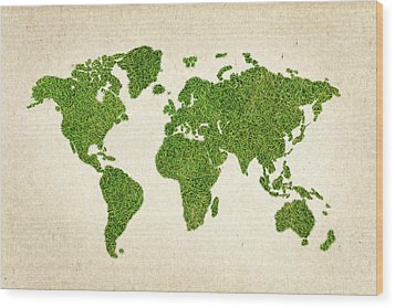 World Grass Map Wood Print by Aged Pixel