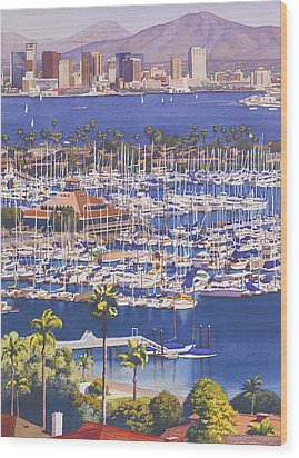 A Clear Day In San Diego Wood Print