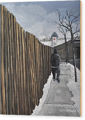 A Cold Day In Pointe St. Charles Wood Print by Reb Frost