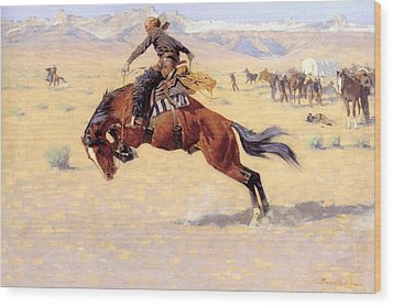 A Cold Morning On The Range  Wood Print by Frederic Remington