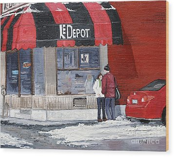 A Conversation Near Le Depot Wood Print by Reb Frost