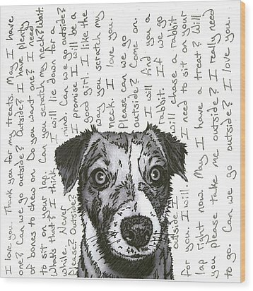 A Conversation With A Jack Russell Terrier Wood Print by Salvadore Delvisco