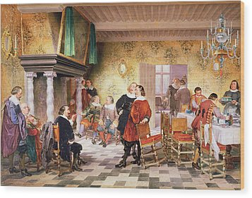 A Convivial Meeting Of The Brewers Wood Print by Louis Haghe