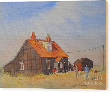 Wood Print featuring the painting A Corner Of Dungeness by Beatrice Cloake