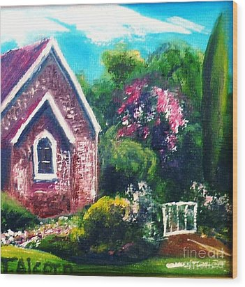 Wood Print featuring the painting A Country Church - Original Sold by Therese Alcorn