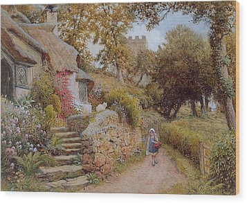 A Country Lane Wood Print by Arthur Claude Strachan