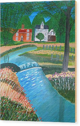A Country Stream Wood Print by Magdalena Frohnsdorff
