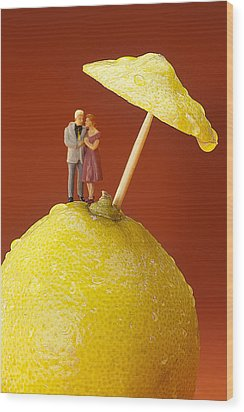 Wood Print featuring the painting A Couple In Lemon Rain Little People On Food by Paul Ge