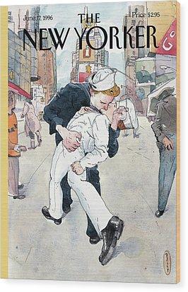 A Couple Reenacts A Famous World War II Kiss Wood Print