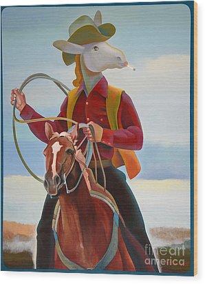 A Cowboy Wood Print by Jukka Nopsanen