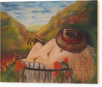 A Cowgirl Bath Wood Print by Annamarie Sidella-Felts