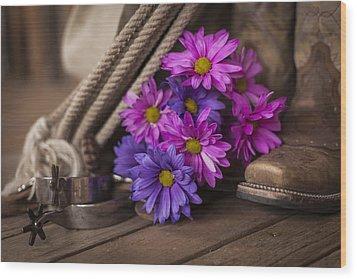 A Cowgirl's Flowers Wood Print by Amber Kresge